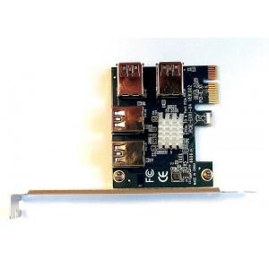 PCI Express rozbočovač 1x PCI-E na 4x PCIE-E ver.002
